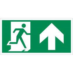 """Evakuacinis saugos ženklas """"Išėjimas čia""""."""