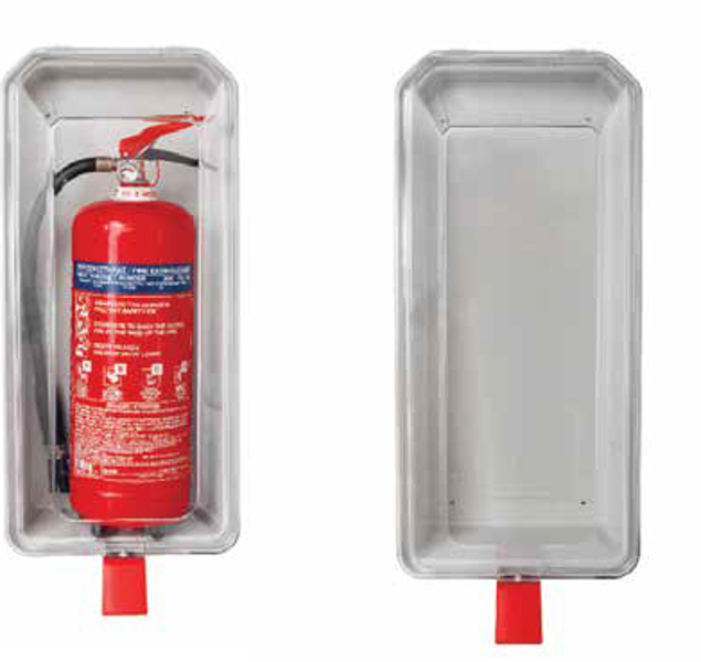 Plastikinė apsauginė dėžė (permatoma) 6Kg / 6Lt gesintuvams