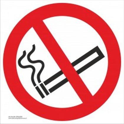 """Draudžiamasis saugos ženklas """"Nerūkyti""""."""