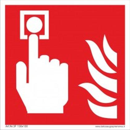 """Gaisrinės saugos ženklas """"Gaisro pavojaus signalas""""."""