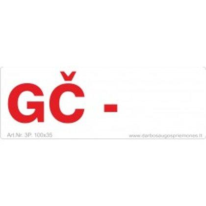 """Gaisrinės saugos ženklas """"GČ""""."""