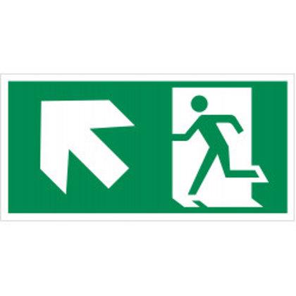 """Evakuacinis saugos ženklas """"Išėjimas aukštyn į kairę"""""""