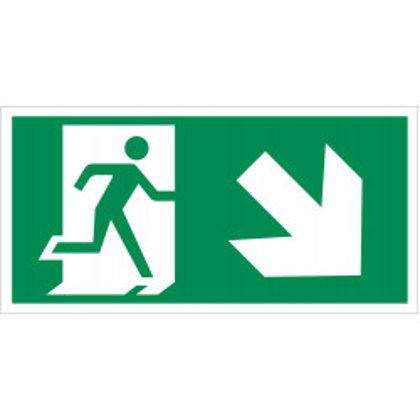 """Evakuacinis ženklas """"Išėjimas žemyn į dešinę""""."""