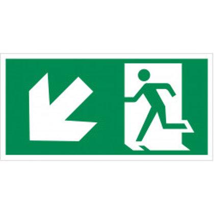 """Evakuacinis saugos ženklas """"Išėjimas žemyn į kairę""""."""