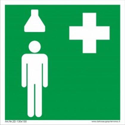 """Medicininės pagalbos saugos ženkas """"Pirmosios pagalbos dušas""""."""