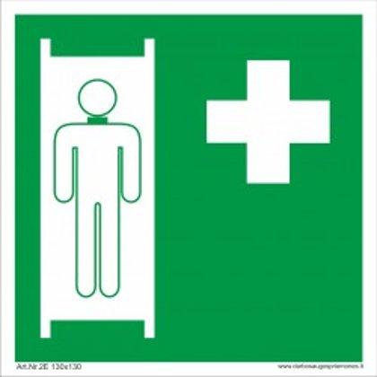"""Medicininės pagalbos saugos ženkas """"Pirmosios pagalbos neštuvai""""."""